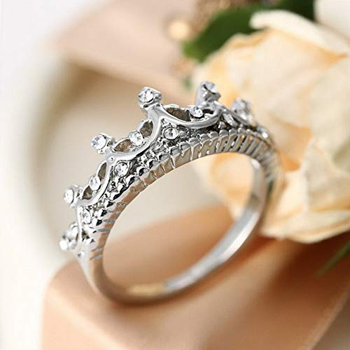 Campton Hot Fashion Princess Women Rose Gold Silver Rhinestone Crown Ring Size 5 6 7 8 9 | Model RNG - 11859 | 5