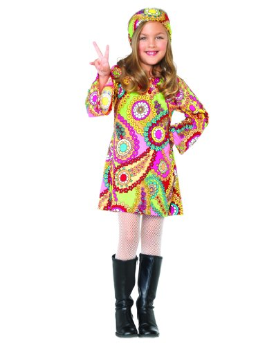 Hippie 2 Piece Headband (Leg Avenue Groovy Girl Bell Sleeved Tunic Dress & Headband (2 Piece), X-Small,)