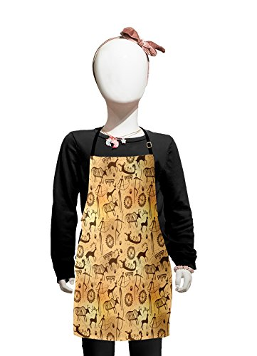 Lunarable Primitive Kids Apron, Dated Irregular Caveman Paint Forms with Bird and Cow Shape Early Modern Humans, Boys Girls Apron Bib with Adjustable Ties for Cooking Baking and Painting, Tan Brown ()
