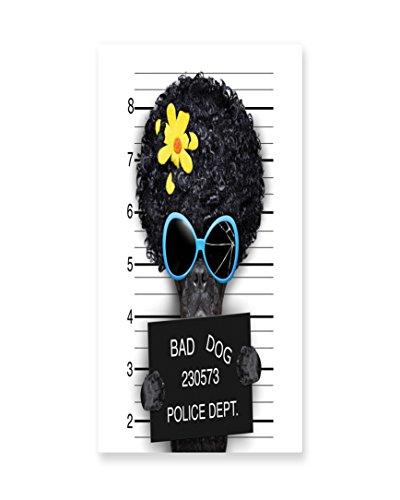 Lunarable Funny Wall Art, Mug Shot of Hippie Wanted Dog Criminal Puppy Afro Boxer Gangster Prison Humor Theme, Gloss Aluminium Modern Metal Artwork for Wall Decor, 11.6 W X 23.5 (Gangster Girlfriend Costume)