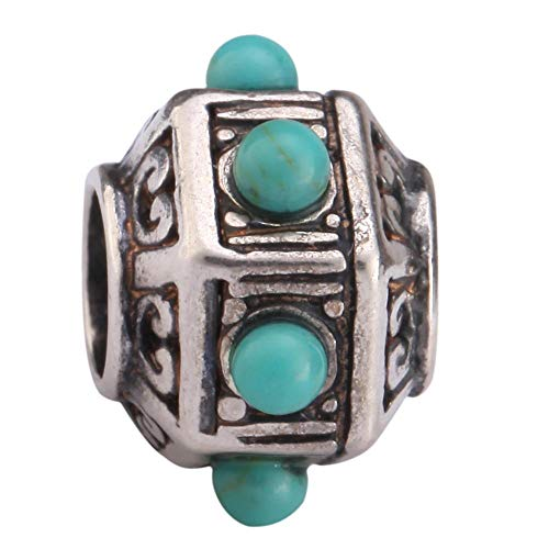 (Sterling Silver Charm Lantern Charm Turquoise Charm Bead fits All Charm Bracelets Women Girls Birthday Gifts EC185)