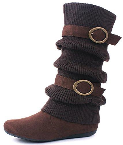 Sweater Brown 5 Zipper Warm Shoes Buckle 6 JJF Calf Dual Mid B21 Slouch Boots Cuff EZqXKCw6