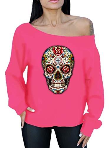 Awkwardstyles Rose Eyes Skull Off The Shoulder Oversized Sweatshirt Sugar Skull (2XL, Pink) (Pink Hoodie Skull)