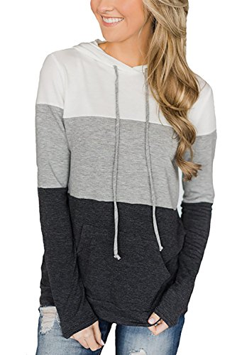 Alelly Womens Pullover Long Sleeve Stitching Casual Hooded Sweatshirt Pocket