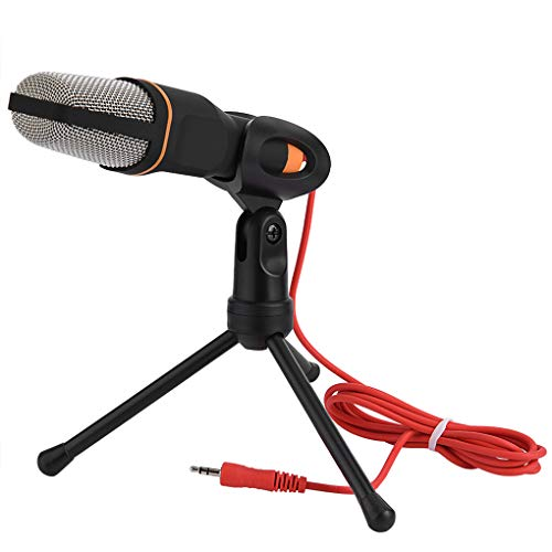 TenYua 3.5mm Audio Wired Stereo Condenser SF-666 Microphone With Holder Stand Clip For PC Chatting Singing Karaoke Laptop (black)