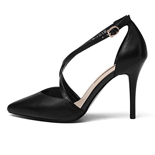 Sandals Shallow Shoes Wedding Pumps Black Party Evening High Strap Heels Pointed Leather Women's Ankle Black Dress q5w68p8C