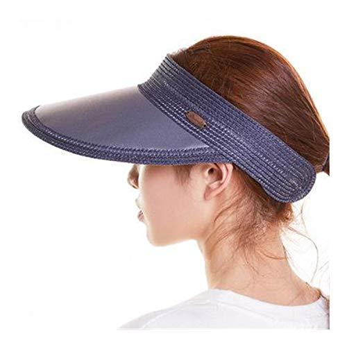 ATS for Empty Top Tennis Sport Cap Straw Chapeau Femme Beach SunVisor Navy Blue