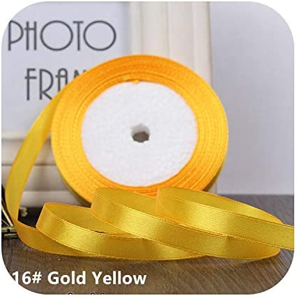 kawayi-桃 25ヤード/ロールグログランサテンリボン結婚式のクリスマスパーティーの装飾6mm-40mm DIY弓クラフトリボンカードギフト-Gold Yellow-25mm