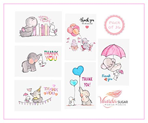 VandaSugar Thank you card Cute Colorful Animal Elephant Designs on 4x6 inches folded assortment card Pack Set of 36 with Envelopes Blank Inside for Baby Shower Kid Birthday Party