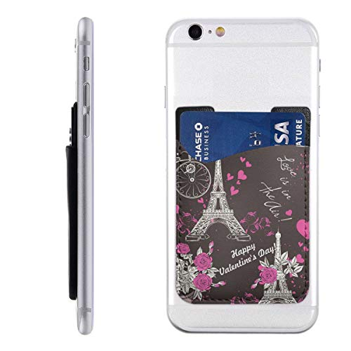 Bkabaouy88 Wallpaper Pattern with Eifel Tower PU Slim Wallet,Ultra Thin Stick-On Silicone Credit Card Holder Sticker Adhesive Cell Phone Wallet Compatible for Most Smartphones 2.43.5in (Best Wallpapers For Lg G2)
