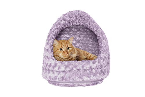 Purple Cat Bed - Furhaven Pet Hood Bed | Ultra Plush Hood Pet Bed for Dogs & Cats, Lavender, One-Size