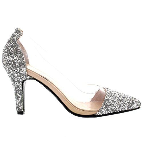 Plata Claro Mediados La Moda Separar De De Resplandecer Mujer Dedo Puntiagudo Plexiglás Corte Zapatos Talón AqUwnZtOW
