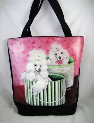 Cute Poodles In Hat Box Carry Bag, 38006 by ACK]()