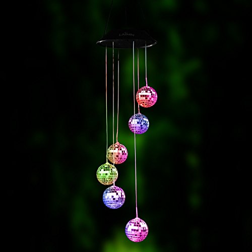BALANSOHO Color Changing Solar Wind Spinner, Disco Ball Shape Solar Wind Chime Night Light Waterproof for Home Garden Christmas Lighting Decor