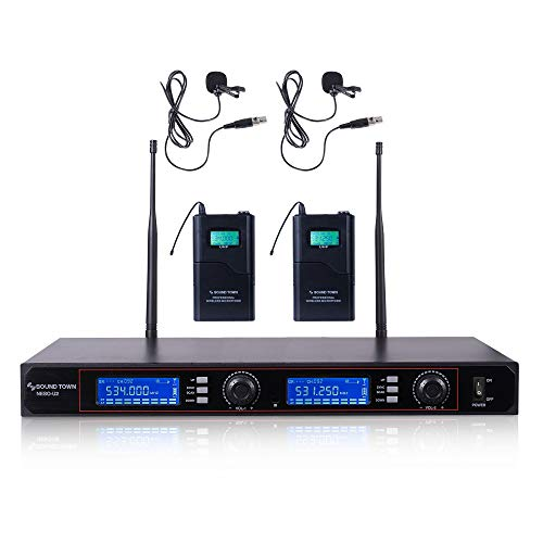 Sound Town 200-Channel Rack Mountable Professional UHF Wireless Microphone System with Metal Receiver, 2 Lavalier Mics, 2 Bodypack Transmitters (NESO-U2LL)
