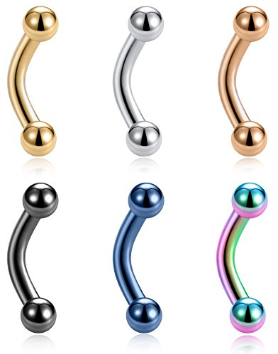 Tornito 6PCS 14G Short Bar Stainless Steel Belly Button Rings 6mm Bar Navel Rings for Women Girls Barbell Dangle Body Piercing Jewelry ()