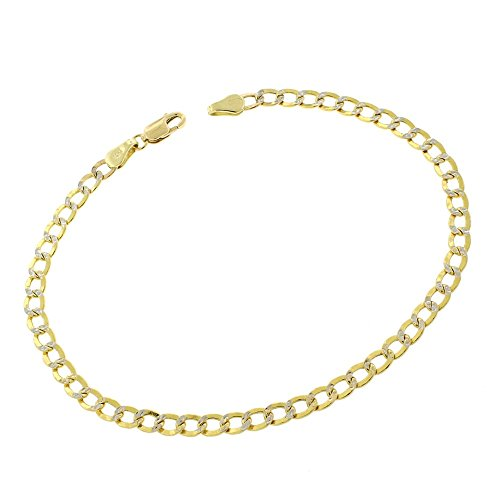 14k Yellow Gold 3.5mm Hollow Cuban Curb Link Diamond Cut Two-Tone Pave Bracelet Chain 5.5