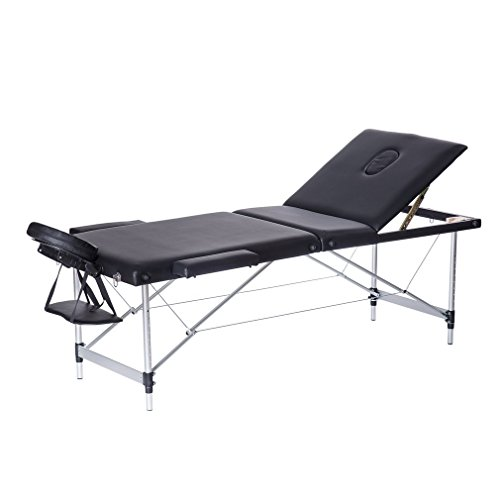 Homgrace Portable Massage Table 3 Fold Aluminum Alloy Frame for Facial SPA Bed / SPA Therapy / Beauty Salon 70 CM(Black) by Homgrace