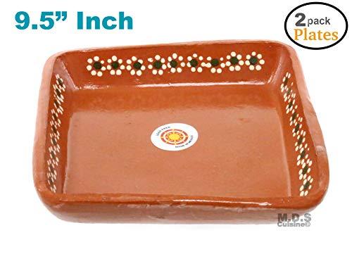 """Plato De Barro 9.5"""" inch Para Mole Mexican Square Plate Traditional Clay Lead Free Artisan Artezania (2 (Mexican Pottery Lead)"""