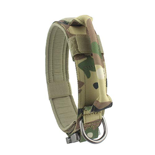 Yunlep Adjustable Tactical Dog Collar Heavy Duty Metal Buckle with Control Handle for Dog Training,1.5