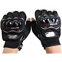 Probiker Half Finger Motorcycle Riding Gloves (Black, XXL)