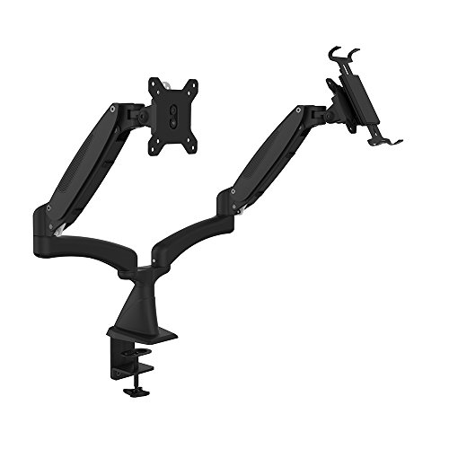OLLO: Twin Wall Mounted Gas Spring Monitor Mount with Laptop tray, Snap-on quick Head, +90º/-85º Tilt, 180º Rotation, 0-18 Lbs. Each Arm, Black, Fits Most 15-27' (DS-2XP)