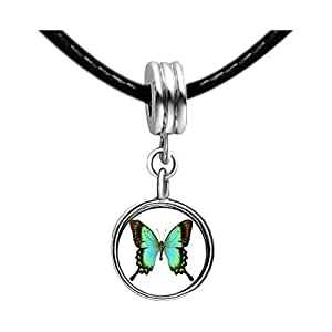 Chicforest Silver Plated Beautiful Lovely Butterfly Photo Emerald Green Crystal May Birthstone Flower dangle Charm Beads Fits Pandora Charms