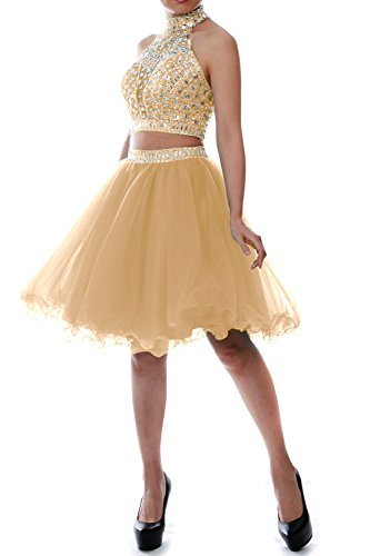 Homecoming Gown Tulle Party Ball Dress Prom Short Piece Women MACloth Two Champagner Halter ZxSqw8aP6