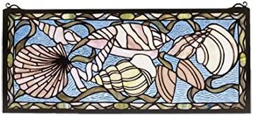 Meyda Tiffany 36431 Seashell Stained Glass Window, 24 by 10