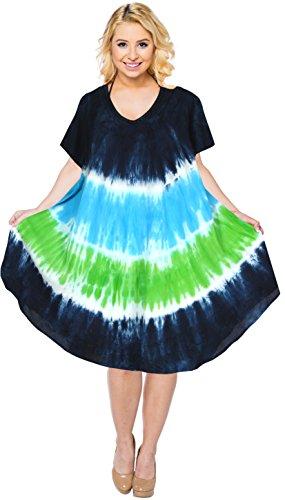 La Leela 3 in 1 Weicher Kunstseide Tunika Damen Hand Tie Dye ...