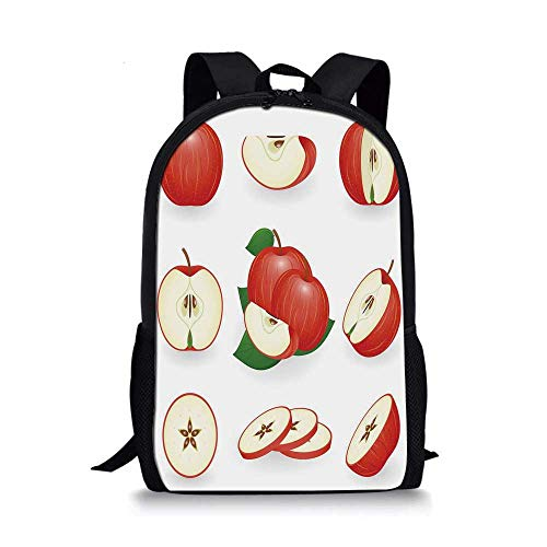 Sweet Decor Stylish School Bag,Yummy Chopped Apple Slices Juicy Fresh Fruits Delicious Nature Illustration for Boys,11''L x 5''W x 17''H