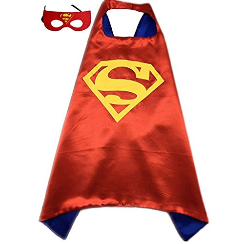 [Calor Superhero or Princess Cape and Mask Set Halloween Dress Up Costume For Kids Childrens (Red & Blue] (Red Halloween Kids Costumes)
