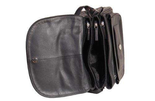 Mesdames Véritable sac bandoulière en cuir femmes de la Croix-corps Sac à main VANCOUVER Noir