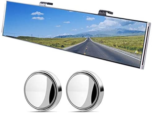 11.42 Wide Angle Rear view Mirror Universal Curve Convex Rear View Mirror Clip on Car Rearview Anti-glare Blue Mirror Panoramic for SUV//Truck//Car