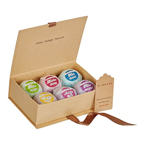 Bath Bombs Gift Set - Handmade Spa Fizzies for Relaxation & Aromatherapy - With Organic, Natural Essential Oils and Shea Butter - Vegan & Cruelty-Free (Set of 6)- By Elijah & Oz by Elijah & Oz (Image #1)