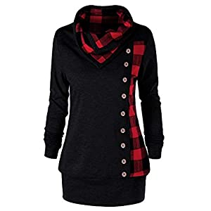 Auifor Women Sweatshirts Turn-Down Collar Buttons Plaid Print Patchwork Sweatshirt Top Blouse Spring Autumn Daily…