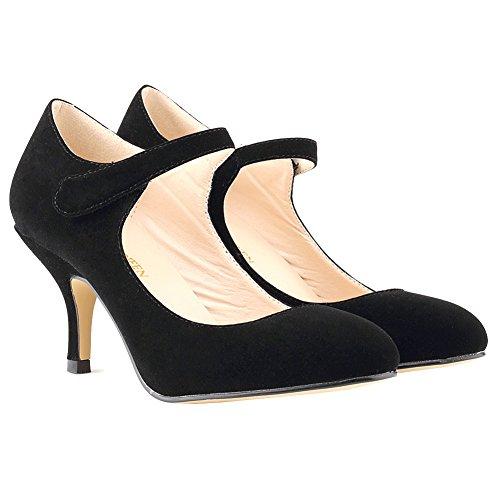 Loslandifen Ladies Mary Jane Mid Heels Casual Ankle Strap Work Pump Shoes Black Velvet P9oqF3q