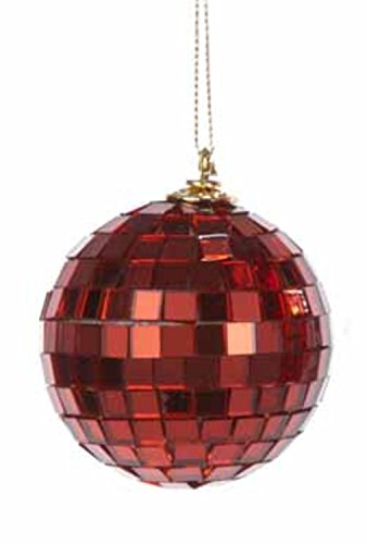 Red Mirrored Glass Disco Ball Christmas Ornament 2.5