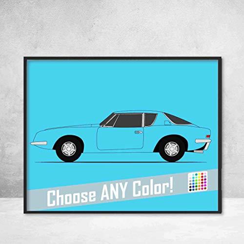 (Studebaker Avanti (Side Profile View) Poster Print Wall Art Decor Handmade Raymond Loewy Designed Car Side View)