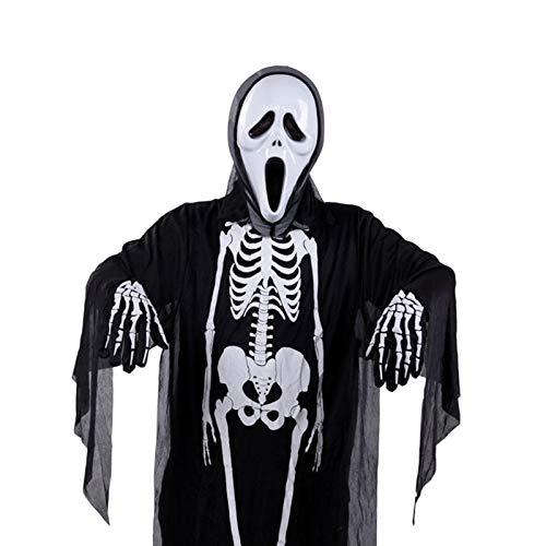 Mengjie Holloween Costume Skeleton Horror Costume mask Set, Black 4, f -