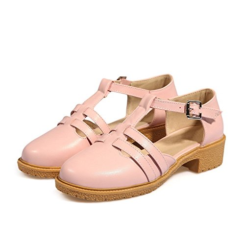 VogueZone009 Damen Rein PU Leder Niedriger Absatz Schnalle Schließen Zehe Sandalen Pink