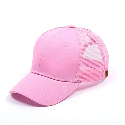 (DSFEWRD Glitter Ponytail Baseball Cap Women Hat Summer Messy Bun Mesh Hats Casual Adjustable Sport Caps Pink with tag)