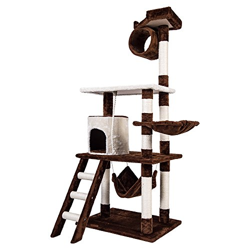 """Merax Carb-Certified 61"""" Cat Tree Cat House Cat Tower with Sisal Rope (Coffee and White)"""