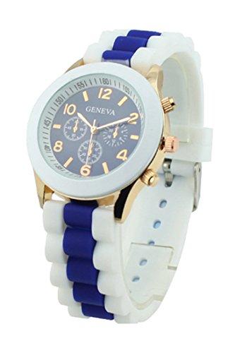 SODIAL(R) Women's Silicone Band Jelly Gel Quartz Wrist Watch Dark Blue