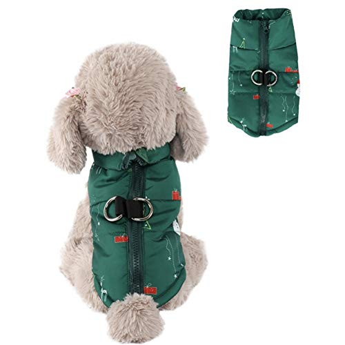 CheeseandU Pet Dog Warm Christmas Winter Coat Jacket Vest Windproof Dog Clothes with Santa Elk Outdoor Extra Protection Jacket Xmas Holiday Party Apparel for Small Medium Dogs Cats