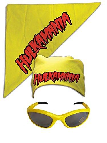 Hulk Hogan Hulkamania Bandana Sunglasses Costume -Yellow-Yellow]()