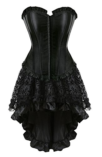 Grebrafan Halloween Corset Dress Slim Plus Size Bustier with Tutu Skirt (US(20-22) 6XL, Black)