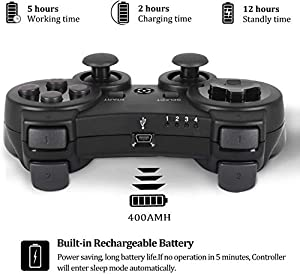 Burcica Wireless Controller for PS3 Playstation 3 Dual Shock, Gaming Gamepad Joystick Remote for PS3 6-axis with Charging Cord (2 Pack, Black) (Color: Black and Black)