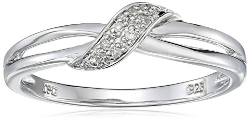 scross Diamond Ring (0.02 cttw, I-J Color, I2-I3 Clarity), Size 8 (Silver Diamond Cut Criss Cross)