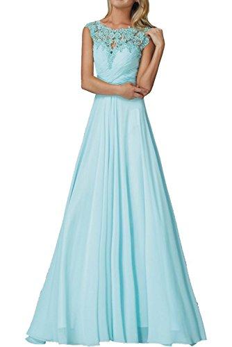 La_mia Braut Rosa Elegant Lang Chiffon Abendkleider Ballkleider Jugendweihe Kleider Festlichkleider Mit Spitze Hell Blau 8dwOHa